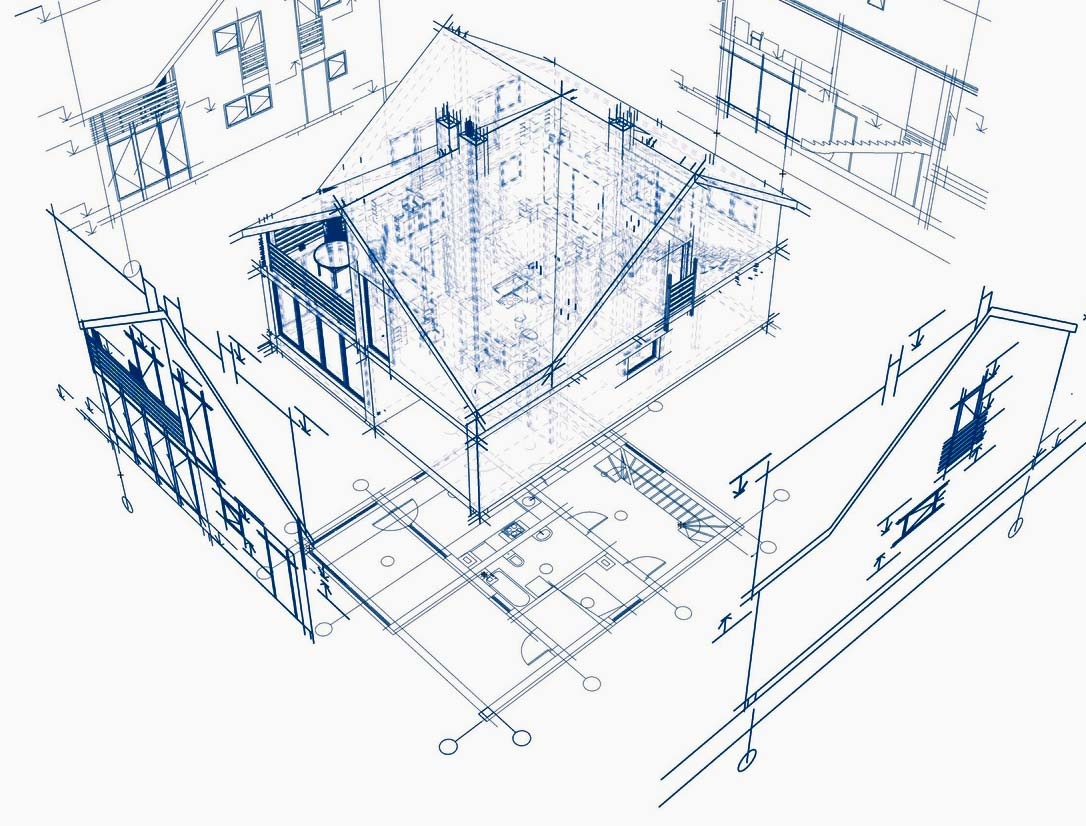 Architectural sketch of a house we typically preform a home inspection on.